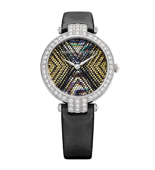 Harry Winston Premier Precious Weaving 18K White Gold Black Satin Strap
